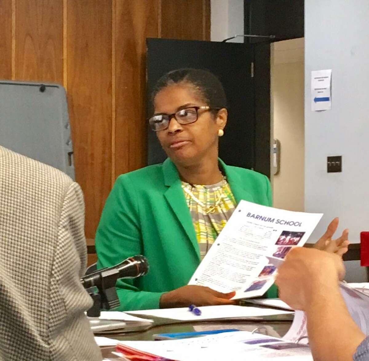 Bridgeport Schools Superintendent Aresta Johnson presenting to the board during her evaluation. June 2018.