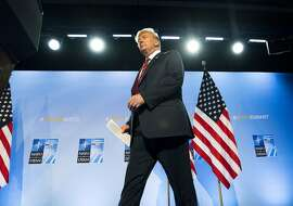 President Donald Trump at a NATO Summit in Brussels, July 12, 2018. The contrast between Trump's actions in Europe and the indictment of 12 Russian intelligence agents for hacking the Democratic National Committee and the Clinton campaign demonstrated how Trump is almost wholly untethered from his administration when it comes to Moscow. (Doug Mills/The New York Times)