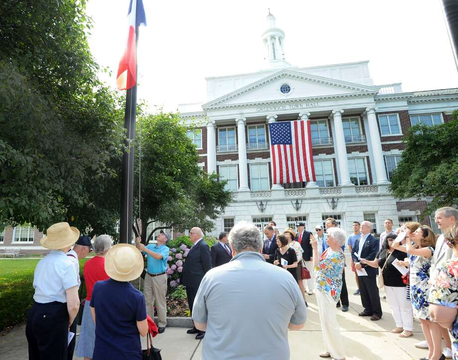 The Alliance Francaise of Greenwich annual Bastille Day French flag raising in front of Greenwich Town Hall, Conn., Saturday morning, July 14, 2018. Photo: Bob Luckey Jr. / Hearst Connecticut Media / Greenwich Time