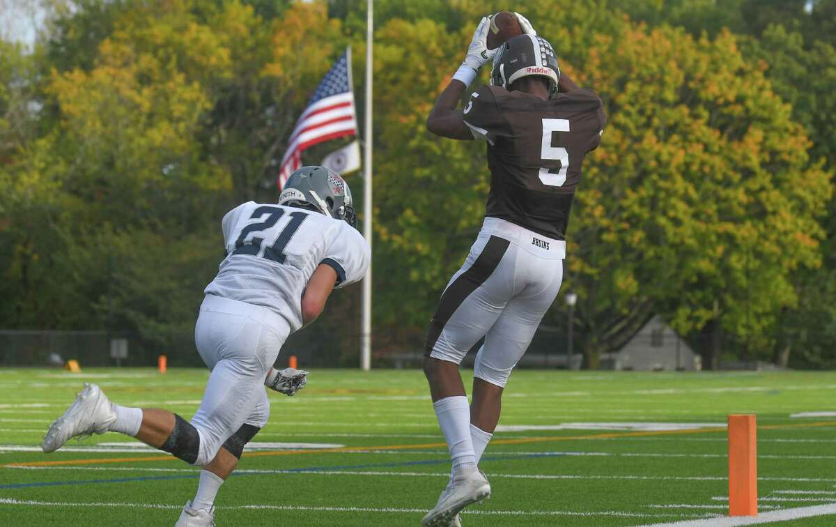 Cornelius Johnson (5) Game action images between the Brunswick Bruins and the Kent Lions played at Brunswick School on Saturday October 7, 2017 in Greenwich, Connecticut.