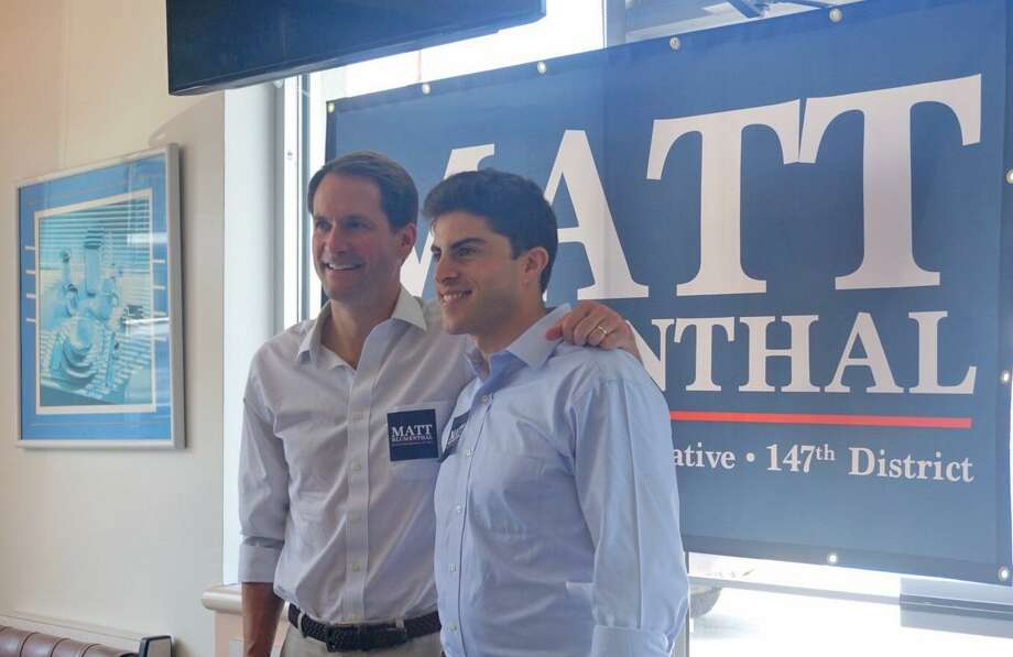 U.S. Rep. Jim Himes (left) endorsed Matt Blumenthal (right) for state representative for the 147th District  at the Springdale Diner in Stamford, Conn. on July 14, 2018. Photo: Emilie Munson / Hearst Connecticut Media / Connecticut Post