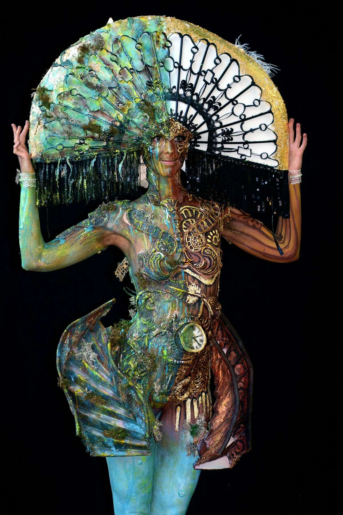 KLAGENFURT, AUSTRIA - JULY 13: A model, painted by bodypainting artists Yvonne Zonnenberg-Hughes and Astric Hughes from South Africa,poses for a picture at the 21st World Bodypainting Festival 2018 on July 13, 2018 in Klagenfurt, Austria. (Photo by Didier Messens/Getty Images)