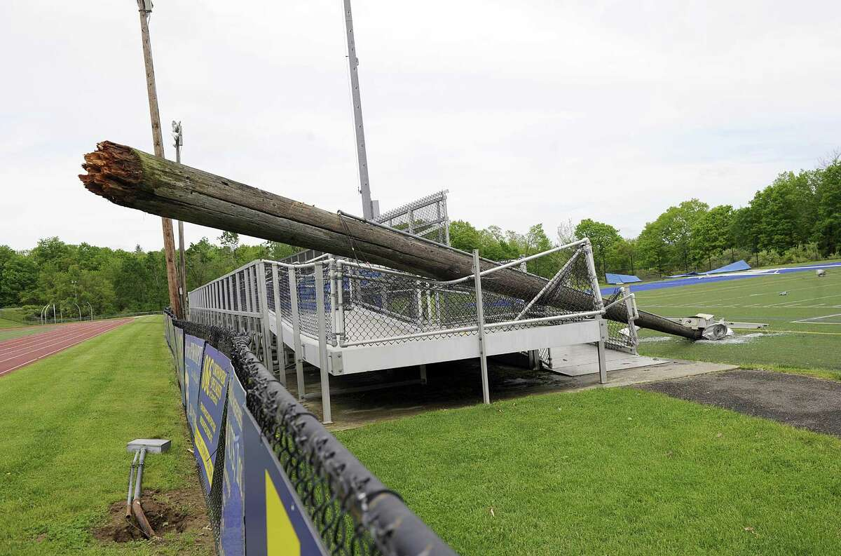 The athletic complex at Brookfield High School took a major hit in the storm that blew through on Tuesday. Included in the damage is smashed light poles and fixtures. Photo Thursday, May 17, 2018.