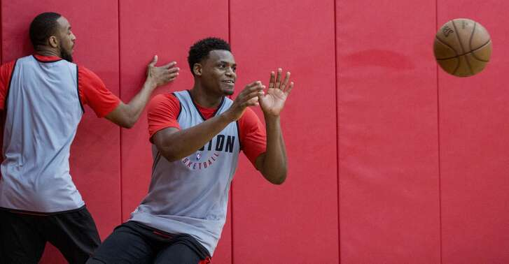 Houston Rockets forward Danuel House takes a pass during practice for the Rockets NBA rookie summer league at Toyota Center on Thursday, July 5, 2018, in Houston. ( Brett Coomer / Houston Chronicle )