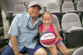 Fans of all ages were in awe when they came to see The Harlem Globetrotters at the AT&T Center in San Antonio on Saturday, July 14, 2018. The showcase featured four-point shots, the largest female roster in the team's history, and plenty of antics and acrobatics for fans to enjoy.