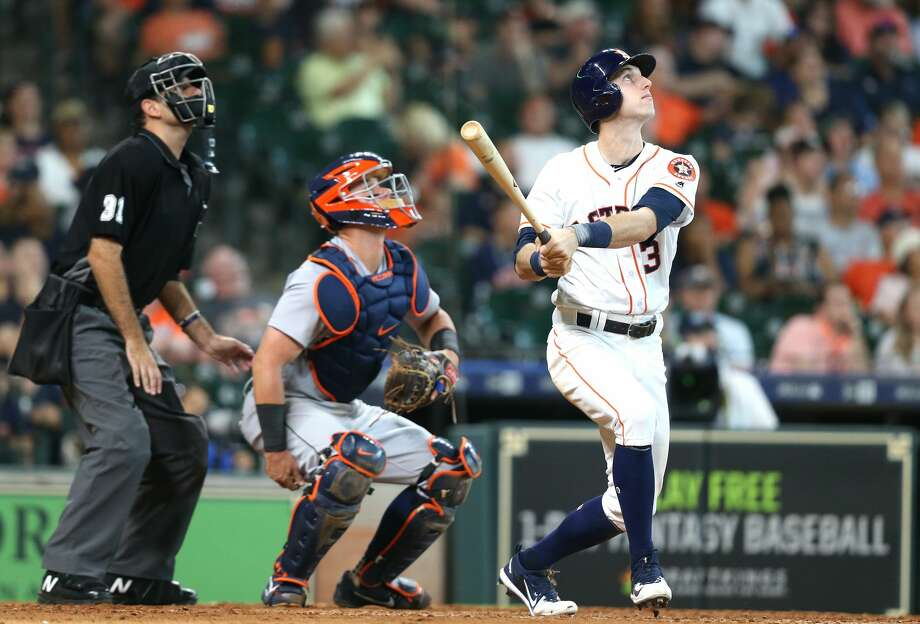 Houston Astros left fielder Kyle Tucker (3) watches a long fly ball that is caught in the bottom of the eighth inning. Houston Astros host the Detroit Tigers at Minute Maid Park on Saturday, July 14, 2018. Astros won the game 9-1 and lead the Tigers 2-0 in the series.( Elizabeth Conley / Houston Chronicle ) Photo: Elizabeth Conley/Houston Chronicle