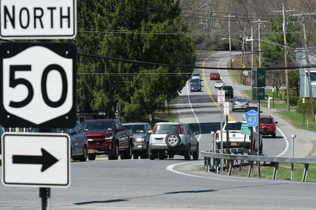 The Geyser Road Trail project is on hold while the city waits for supplies needed to finish improvements at the intersection of Route 50 and Geyser Road. (Will Waldron/Times Union)