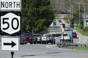 Traffic on Geyser Road at Route 50 near the entrance to Saratoga Spa State Park on Friday, April 14, 2017, in Saratoga Springs, N.Y. (Will Waldron/Times Union)