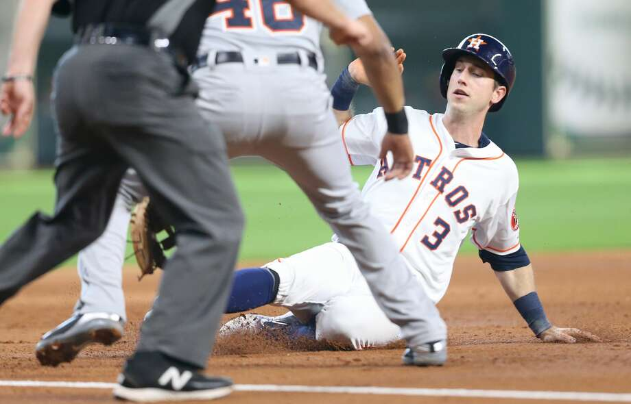 Kyle Tucker's second big-league stint is over with him going back to Class AAA Fresno to clear a roster spot for Jose Altuve's return. Photo: Elizabeth Conley/Houston Chronicle