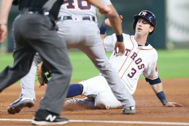 Houston Astros left fielder Kyle Tucker (3) slides safely into third after a single by Houston Astros catcher Tim Federowicz (19) in the second inning against the Detroit Tigers at Minute Maid Park on Saturday, July 14, 2018. Astros won the game 9-1 and lead the Tigers 2-0 in the series.( Elizabeth Conley / Houston Chronicle )
