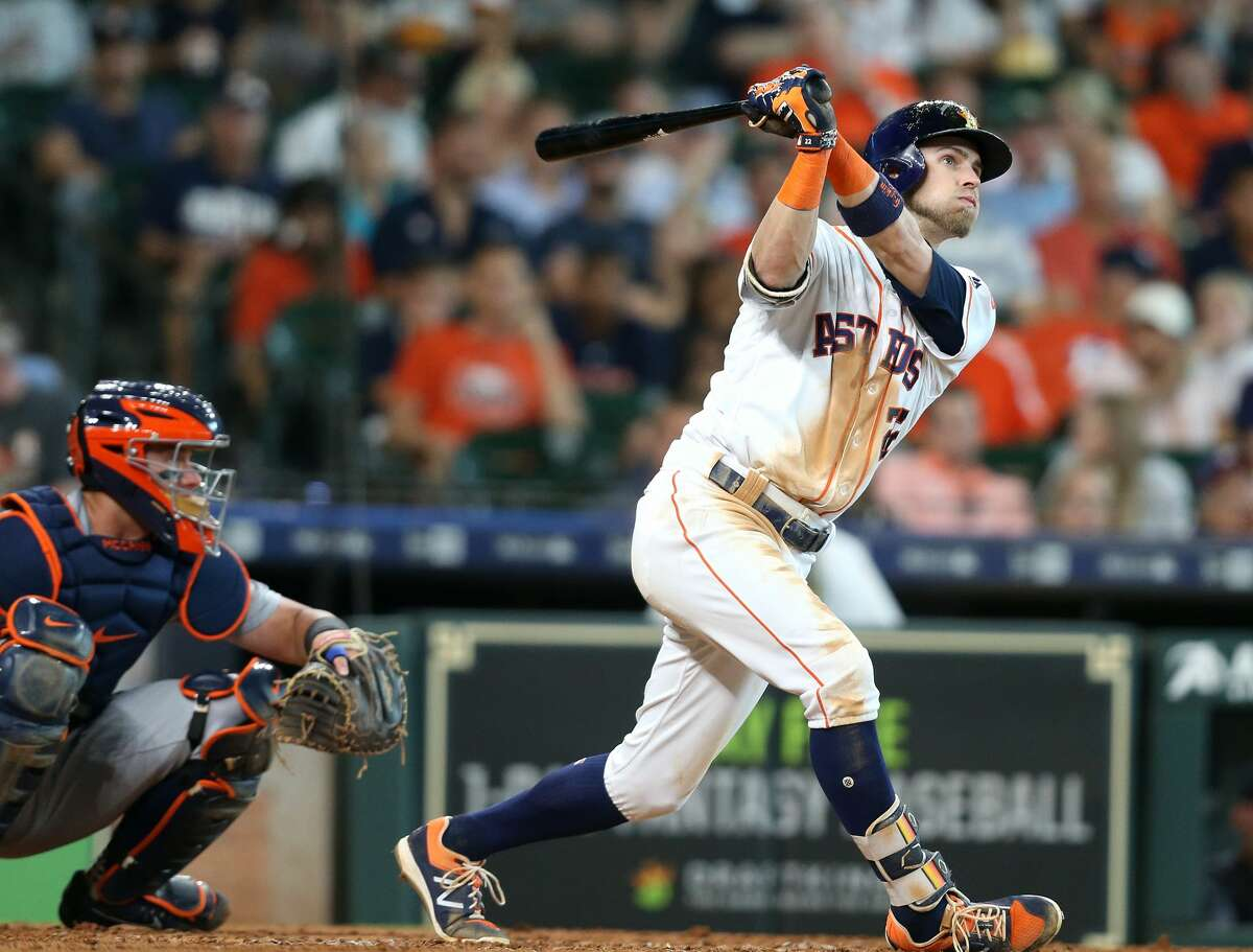 Houston Astros right fielder Josh Reddick (22) watches his solo home run in the bottom of the fifth inning aginst the Detroit Tigers at Minute Maid Park on Saturday, July 14, 2018. Astros won the game 9-1 and lead the Tigers 2-0 in the series.( Elizabeth Conley / Houston Chronicle )