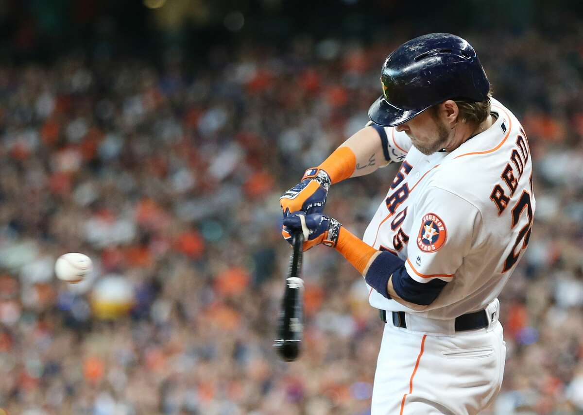 Houston Astros right fielder Josh Reddick (22) fouls the ball in the first inning against the Detroit Tigers at Minute Maid Park on Saturday, July 14, 2018. Astros won the game 9-1 and lead the Tigers 2-0 in the series.( Elizabeth Conley / Houston Chronicle )