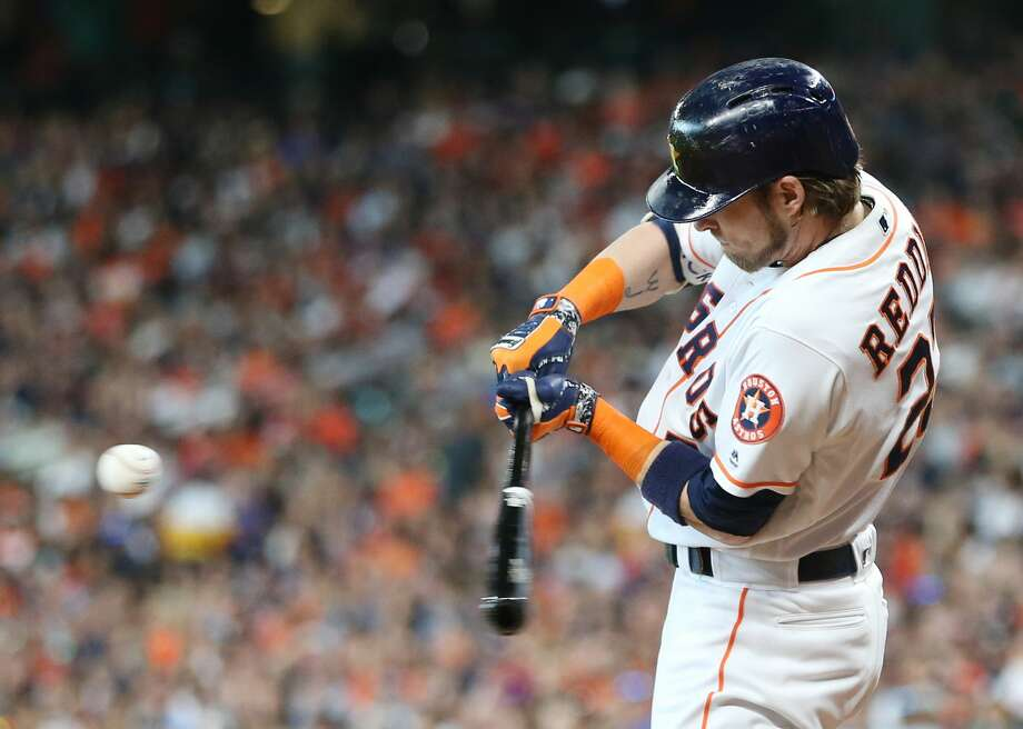 Houston Astros right fielder Josh Reddick (22) fouls the ball in the first inning against the Detroit Tigers at Minute Maid Park on Saturday, July 14, 2018. Astros won the game 9-1 and lead the Tigers 2-0 in the series.( Elizabeth Conley / Houston Chronicle ) Photo: Elizabeth Conley/Houston Chronicle