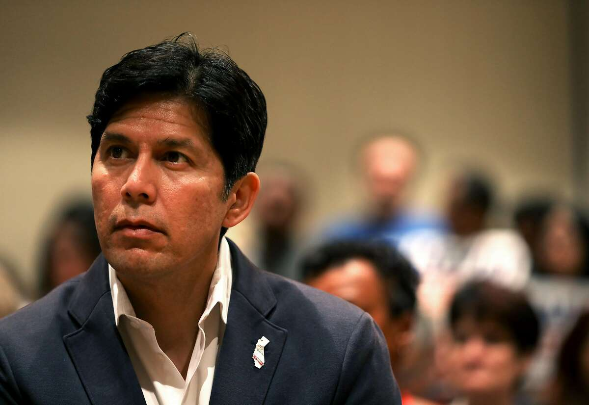 State Sen. Kevin de Leon, 51, watches a speaker during the 2018 Summer Executive Board Meeting, hosted by the California Democratic Party, at the Oakland Marriott City Center on Saturday, July 14, 2018, in Oakland, Cali. He's hoping to get a shot of adrenaline for his campaign by snagging the endorsement of the California Democratic Party.