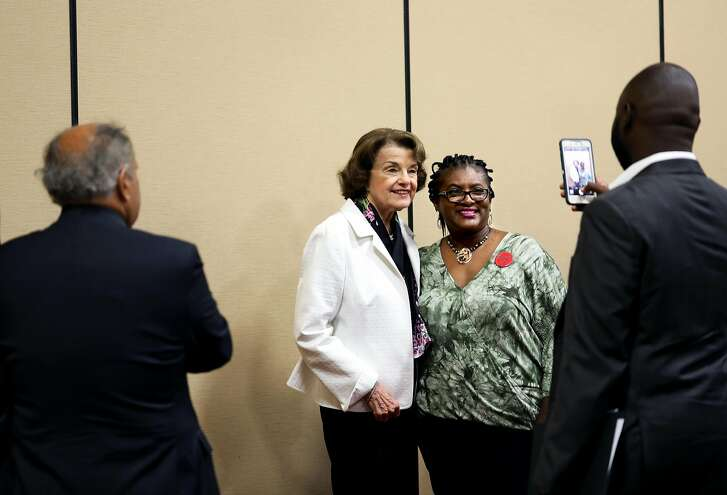 """San Francisco native U.S. Senator Dianne Feinstein (left), 85, has her photo taken with Kecia Woods, a special education teacher who lives in Compton, as the former San Francisco mayor hosts a breakfast at the Oakland Marriott City Center on Saturday, July 14, 2018, in Oakland, Cali. The event was a part of the 2018 Summer Executive Board Meeting, hosted by the California Democratic Party. """"I support Dianne because I believe that she has earned and she has worked to get us to where we are now with help in the Democratic Party,"""" Woods said. """"Mostly though I'm here because I'm concerned as a teacher that other teachers and educators need to understand that Dianne has been out helping us for a long time."""""""