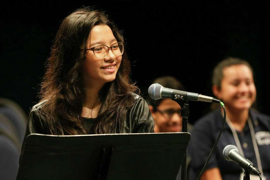 Katherine was uncomfortable speaking English when she started the dual language program at Garner Middle School, but her spelling bee success boosted her confidence in both languages.  Photo: Marvin Pfeiffer / Express-News 2018
