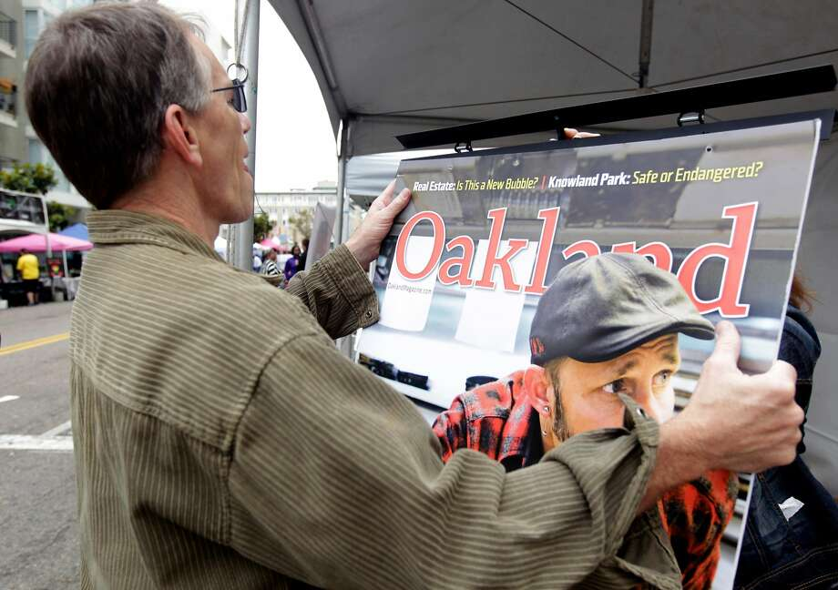 Publisher and co-owner Stephen Buel sets up his magazine's booth at the 14th annual Art and Soul Festival in Oakland, Calif. in 2014. Buel resigned as publisher on July 14, 2018 after admitting to using derogatory words. Photo: Paul Chinn / The Chronicle