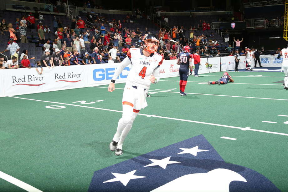 Albany quarterback Tommy Grady celebrates a score in the Empire's 57-56 overtime victory over Washington in their Arena Football League playoff game on Saturday, July 14, 2018. (Courtesy of Albany Empire)