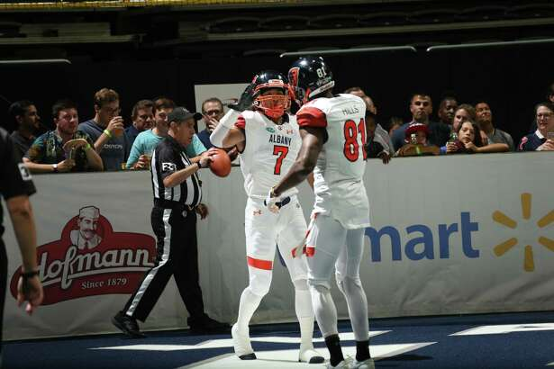 Malachi Jones and Joe Hills celebrate an early Albany touchdown in the Empire's 57-56 overtime win over Washington on Saturday, July 14, 2018. (Courtesy of Albany Empire)
