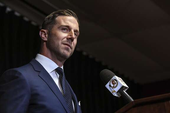 ASHBURN, VA - MARCH 15:  Washignton Redskins quarterback Alex Smith  answers questions from the media during an introductory press conference at Redskins Park on Thursday, March 15, 2018.  (Photo by Toni L. Sandys/The Washington Post via Getty Images)