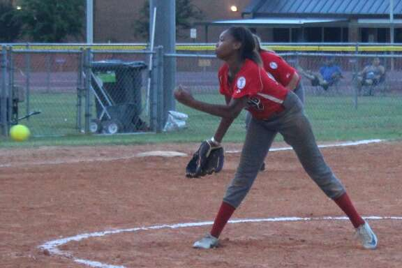 Coldspring Ponytail Ashley Minor unleashes a pitch on the Onalaska Ponytails at the state tournament held on July 14.