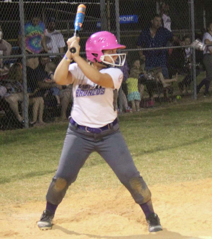 Sydney Reyes-Duke of the Dayton Ponytails All-Stars softball team steps up to bat against the Shepherd Ponytails on July 14 at the state tournament.