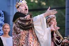 """J. Kevin Smith was Claudius during Curtain Call's 15th annual free Shakespeare performance featuring the play """"Hamlet"""" at the Sterling Farms Theatre Complex, Stamford, Conn., Friday, July 13, 2018. Hamlet is being directed by Kyle Runestad and has additional performances at Sterling Farms located at 1349 Newfield Avenue on July 15, 20, 21 & 22, all shows start at 7:30 p.m."""