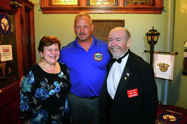 The Derby Centennial Lions Club holds its Charter Night Dinner at The Benevolent & Protective Order of Elks Lodge #571 in Derby, Conn., on Saturday July 14, 2018. Shaukat Khan, the Lions district director, presented the charter to Dugatto, the club's first president and Derby's former two-term mayor.