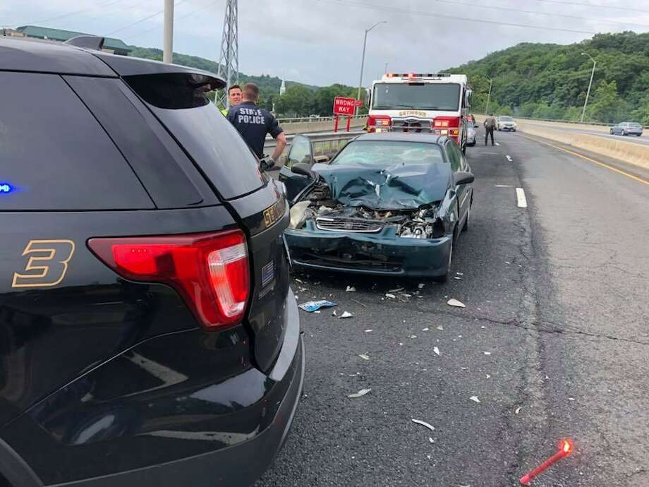 A Seymour police cruiser was hit by another car Sunday morning as officers monitored traffic on Route 8 after a crash. Photo: / Contributed Photo /Seymour Police Facebook Page