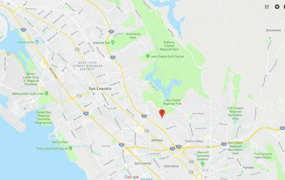 An earthquake shook Alameda County around noon on July 15, 2018. The epicenter is marked with the red pin. Photo: Google Street View