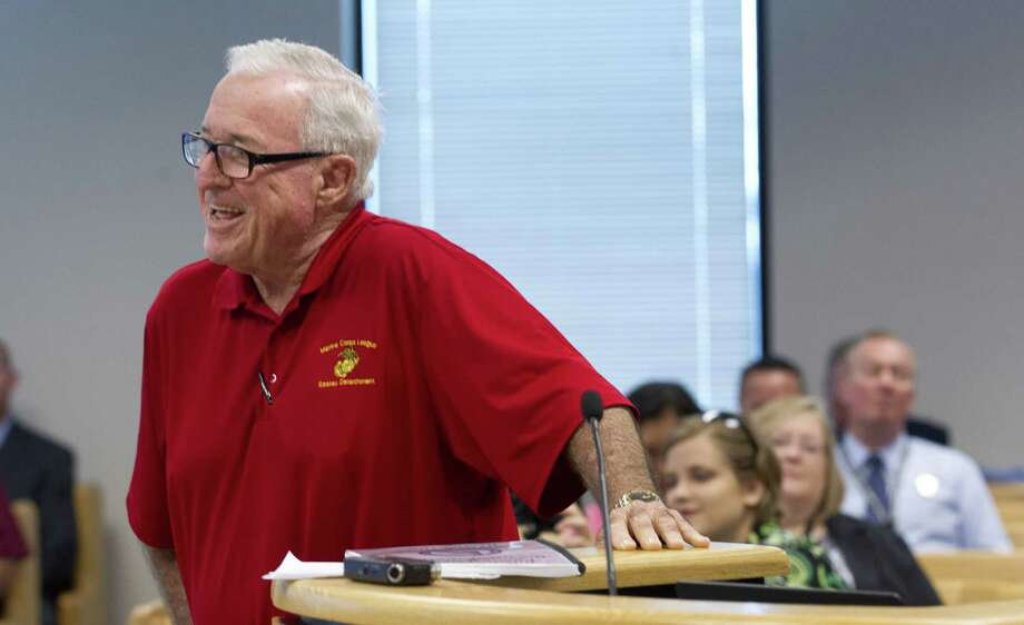 Former Montgomery County Judge Jimmie Edwards III, shares a laugh as he gives an update on support from various government agencies and local organizations for a new Veterans Memorial Park at I-45 and Texas 105 during Montgomery County Commissioners Court at the Alan B. Sadler Commissioners Court Building, Tuesday, July 10, 2018, in Conroe. Photo: Jason Fochtman, Staff Photographer / Houston Chronicle / © 2018 Houston Chronicle