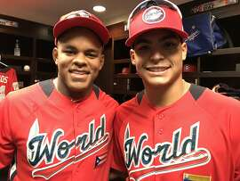 Outfielder Heliot Ramos, a San Francisco Giants prospect, left, and pitcher Jesus Luzardo, an Oakland Athletics prospect, at the Futures Game at Nationals Park in Washington D.C. on July 15, 2018