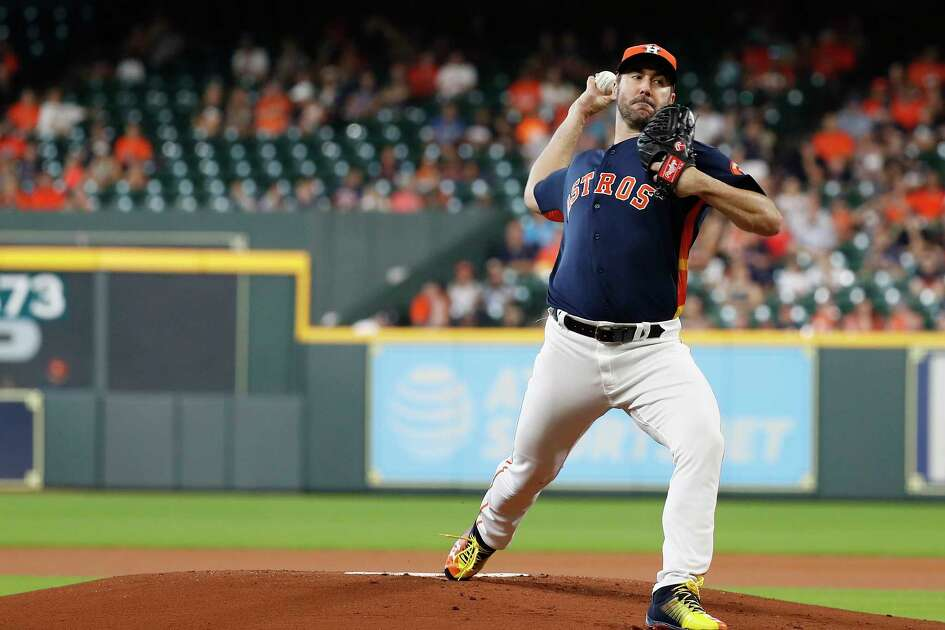 Houston Astros starting pitcher Justin Verlander (35) pitches during the first inning of an MLB game at Minute Maid Park, Sunday, July 15, 2018, in Houston.