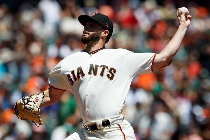 SAN FRANCISCO, CA - JULY 15: Andrew Suarez #59 of the San Francisco Giants pitches against the Oakland Athletics during the first inning at AT&T Park on July 15, 2018 in San Francisco, California.  (Photo by Jason O. Watson/Getty Images)