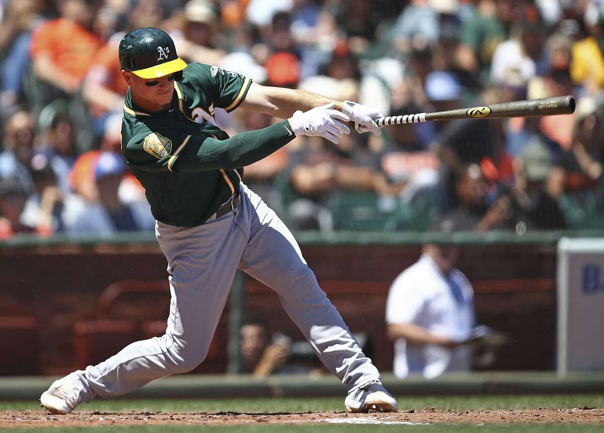 Oakland Athletics' Matt Chapman swings for an RBI single off San Francisco Giants' Andrew Suarez in the fourth inning of a baseball game Sunday, July 15, 2018, in San Francisco. (AP Photo/Ben Margot)