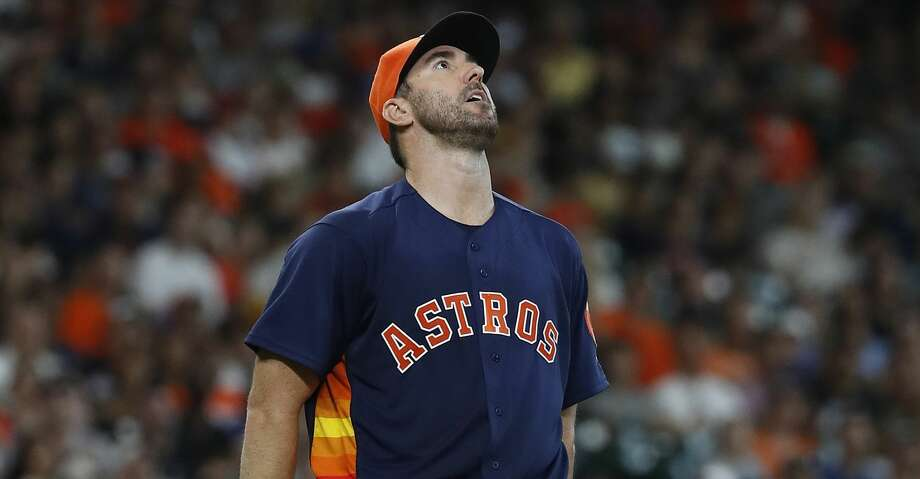 Houston Astros starting pitcher Justin Verlander (35) reacts after giving up a home run to Detroit Tigers Niko Goodrum during the sixth inning of an MLB game at Minute Maid Park, Sunday, July 15, 2018, in Houston. ( Karen Warren  / Houston Chronicle ) Photo: Karen Warren/Houston Chronicle