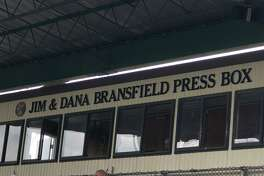 The the baseball and football press boxes at Palmer Field were dedicated in memory of Jim Bransfield and his son Dana on Sunday.