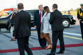 President Donald Trump and first lady Melania Trump arrive in Vantaa, Finland, July 15, 2018. Trump, adding to the list of allies he has clashed with this past week, said in an interview released on Sunday that he considered the European Union a trade �foe,� days after a contentious NATO summit meeting and on the eve of closely watched talks with President Vladimir Putin of Russia. (Doug Mills/The New York Times)