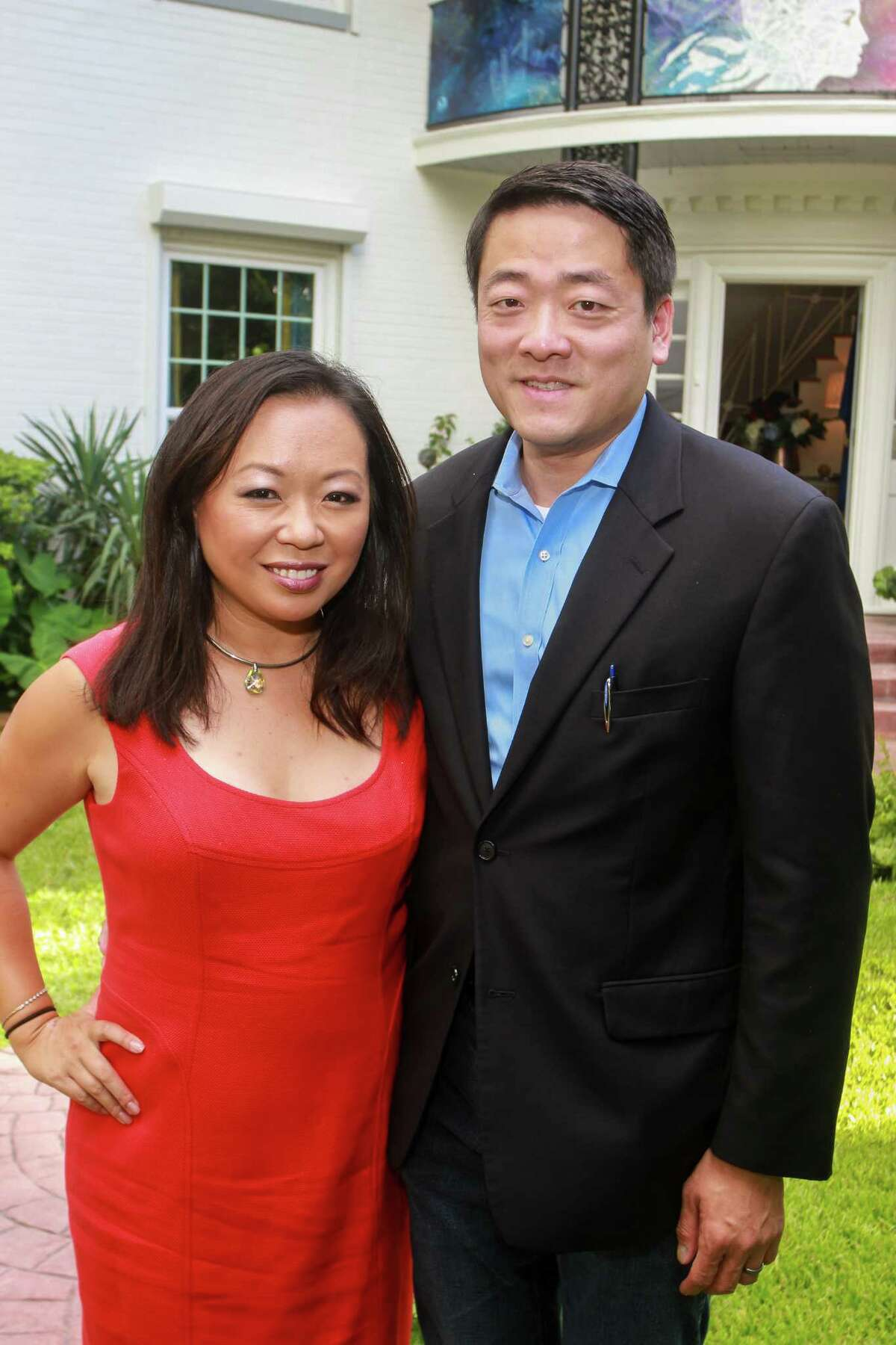 Miya Shay and Gene Wu at the Bastille Day cocktail reception celebrating the French Republic's National Day.