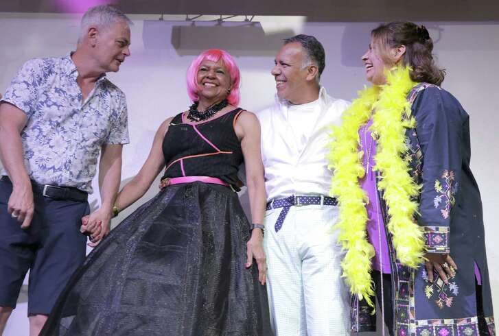 """Chairs of the events including Ben Dillon, Yvonne Cormier, Tony Bravo and Linda Cantu during a """"Hairspray"""" themed drag show benefiting Legacy Community Health at Rich's Houston on Sunday, July 16, 2018."""