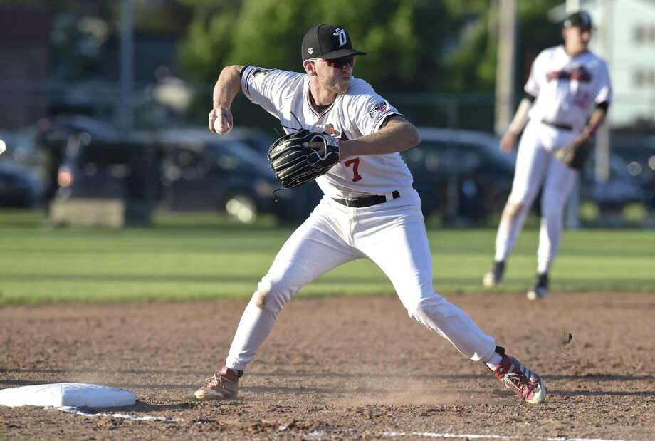 Westerners Jake Frasca (7) move to throw to first as the Danbury Westerners host the North Adams, Mass, Steeple Cats on opening day of the New England Collegiate Baseball League, Tuesday night, June 5, 2018, in Danbury Conn. Photo: H John Voorhees III / Hearst Connecticut Media / The News-Times