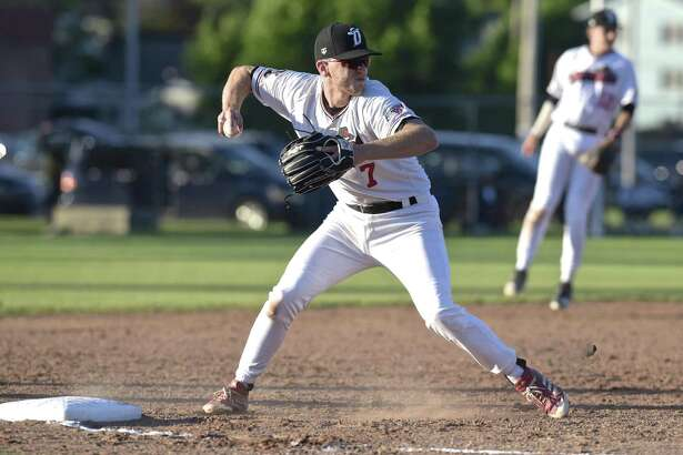 Westerners Jake Frasca (7) move to throw to first as the Danbury Westerners host the North Adams, Mass, Steeple Cats on opening day of the New England Collegiate Baseball League, Tuesday night, June 5, 2018, in Danbury Conn.