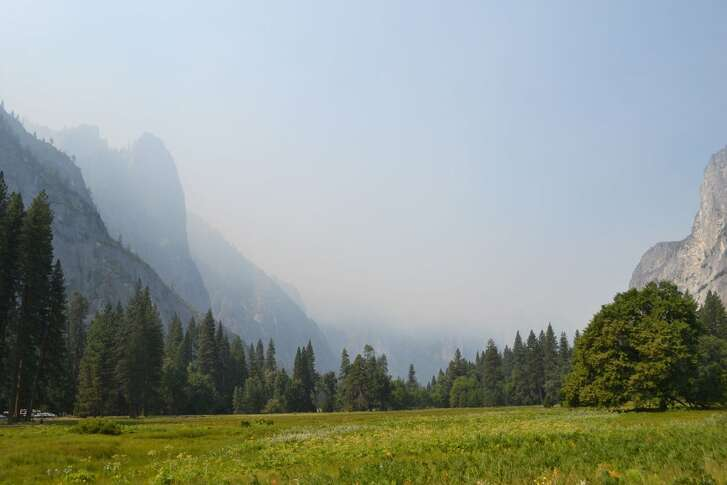 Smoke is seen in Yosemite National Park. The Ferguson Fire in Mariposa County had burned through 4,310 acres and was just 2 percent contained Sunday evening, fire officials said.