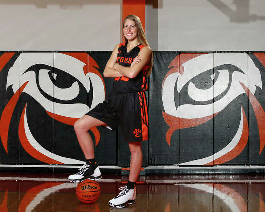 Edwardsville's Kate Martin is the 2018 Telegraph Large-Schools Girls Basketball Player of the Year. The AP Class 4A first team all-stater signed with Iowa helped the Tigers to a 122-6 with a pair of state trophies in her four seasons at EHS. Photo:     Billy Hurst / For The Telegraph