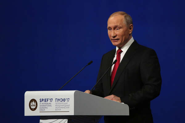 Russian President Vladimir Putin speaks at the plenary session of the St. Petersburg International Economic Forum (SPIEF) in Saint Petersburg, Russia, on June 2, 2017.