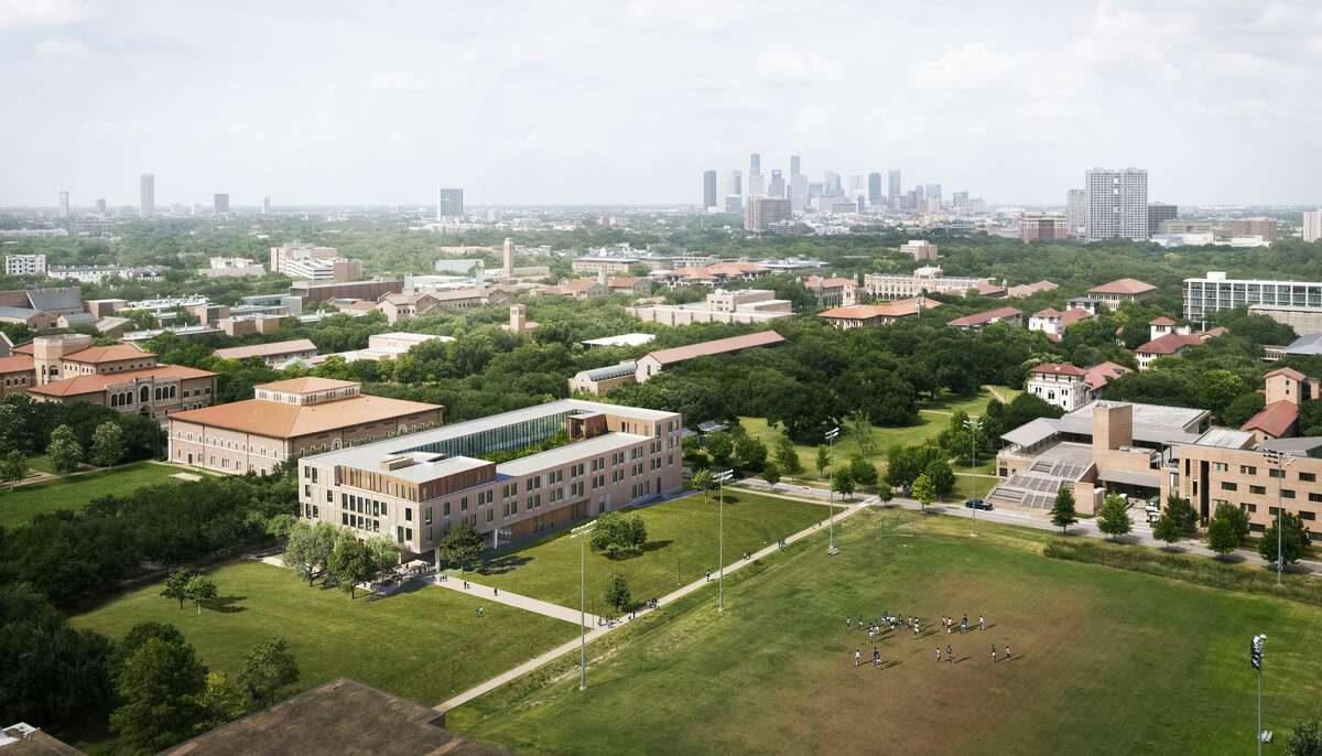 This rendering shows an aerial view of the planned new social sciences building at Rice University.