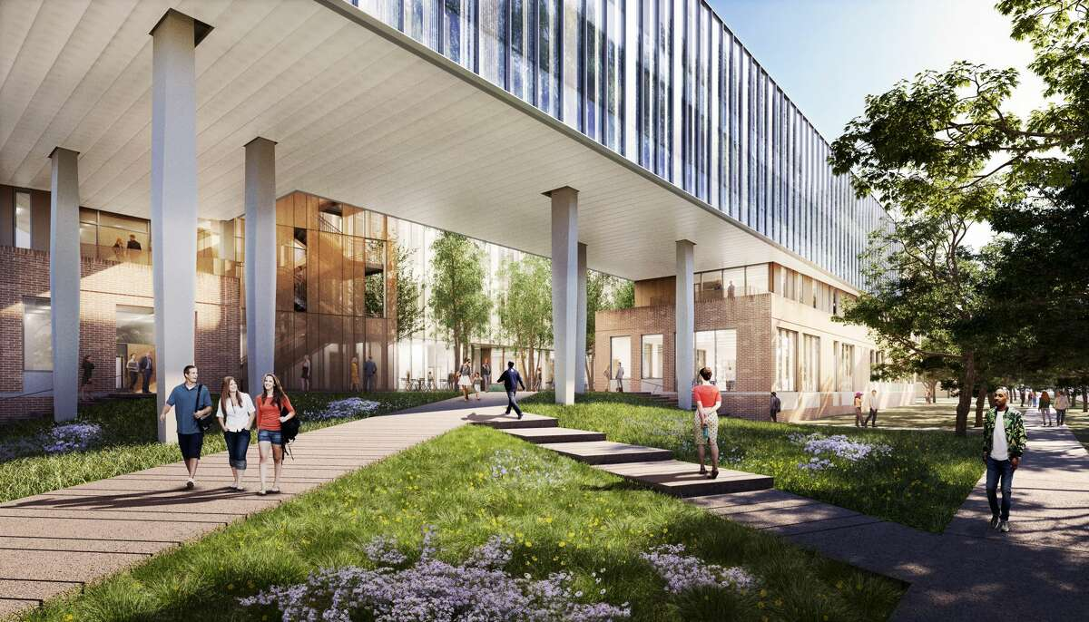 This rendering shows the planned new social sciences building at Rice University.