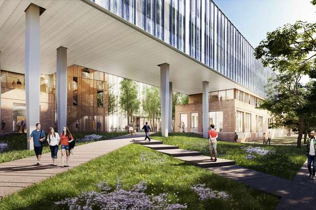 This rendering shows the planned new social science building at Rice University