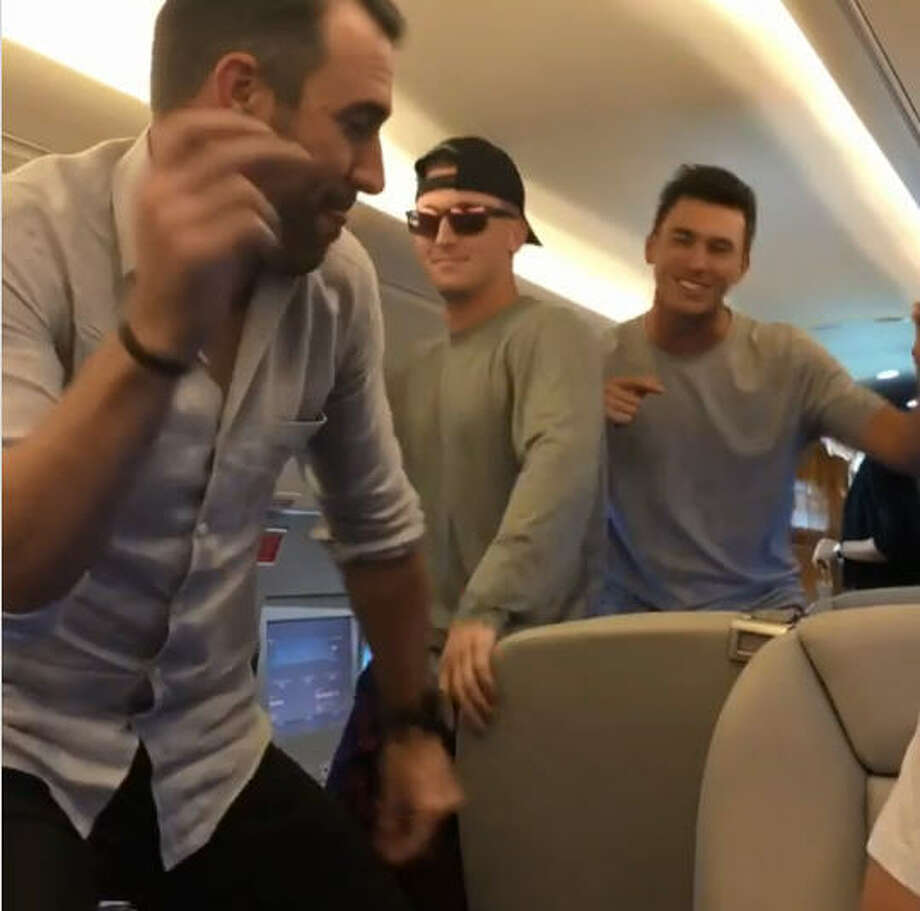 "Astros Justin Verlander and Alex Bregman loosened up ahead of Tuesday's All-Star Game by joining rapper Drake's ""In My Feelings"" challenge over the weekend. Via Bregman's Instagram. Photo: Instagram"