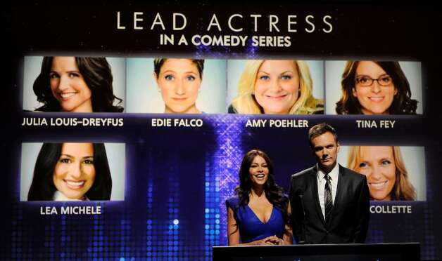 Actors Sofia Vergara, left, and Joel McHale announce nominees for Lead Actress in a Comedy Series during nominations for the 62nd Primetime Emmy Awards at the Academy of Television Arts & Sciences  in Los Angeles, Thursday, July 8, 2010. The show will be held on Aug. 29 at the Nokia Theatre in Los Angeles. (AP Photo/Chris Pizzello) Photo: Chris Pizzello